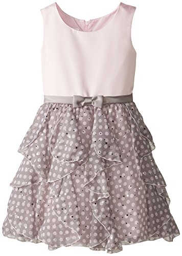 Little Girls Satin to Spangle Dot Chiffon Cascade Ruffle Dress (6, Pink) Chiffon Cascade