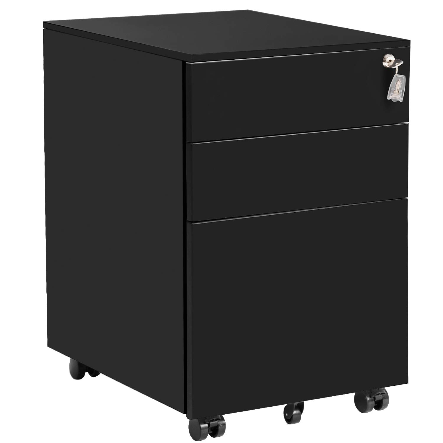 3 Drawer File Cabinet Mobile Metal Cabinet with Drawers Lockable Drawer Cabinet Under Desk Fully Assembled Except for 5 Casters (Black) by P PURLOVE