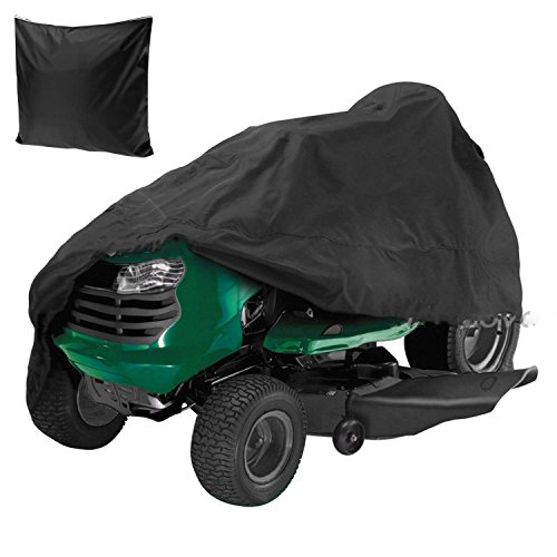 Premium Waterproof Universal Riding Lawn Mower Cover 55 Inch Garden Yard Tractor Storage Cover Black [US Stock] (54Inch) by Cosway