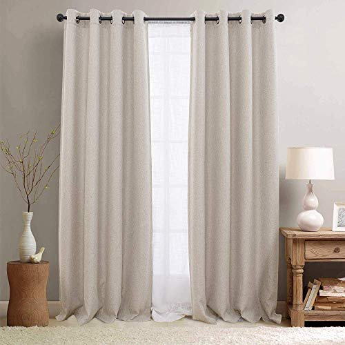 "jinchan Linen Curtains Textured Room Darkening Bedroom Living Room Window Treatment Panels 2 Pieces 84"" L Greyish Beige"