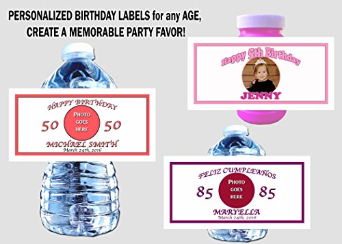 30 Personalized Birthday or Special Occasion Labels with Photo; Customize! Can be used on Water Bottles, Bubbles, Mini Wine Bottles, Goodie Bags, Play Doh Cans, Candles and more!