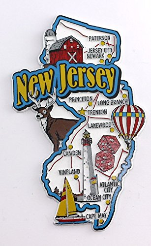 New Jersey State Map and Landmarks Collage Fridge Souvenir Collectible Magnet FMC (Jersey Magnet New Fridge)