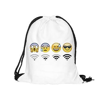 Bolso con cordón, diseño de Wi-Fi y Emojis, unisex, white1 ...