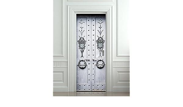 Amazon.com: Wall Door STICKER antique metal doors poster, mural, decole,  film 30x79