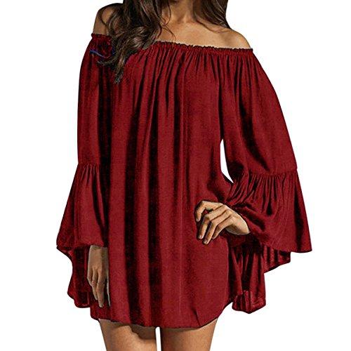 ZANZEA Mujeres Vestido Con Manga Larga Cuello Ancho Mini Dress Camiseta Larga Kaftan Túnica Chiffon Vino