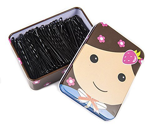 Corrugated Twist - 150PCS Black Bobby Pins with a Metal Box Hair Pins Bun Pins Hair Slides Grips Hair Accessory Perfect for Buns Up-Dos and More (Corrugated-5cm)