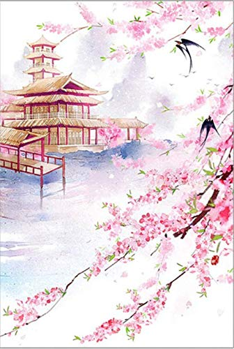 (kkxka No Frame Painting by Numbers Art Paint by Number Chinese Ancient City Tower Peach Landscape Costume Paintings by Numbers On Canvas)