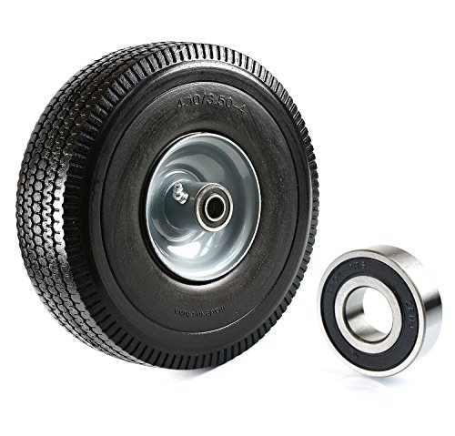 (Set of 2) NK Heavy Duty Solid Rubber Flat Free Tubeless Hand Truck/Utility Tire Wheel, 4.10/3.50-4'' Tire, 2-1/4'' Offset Hub, 5/8'' Bearing With 2 Bearing by K&N