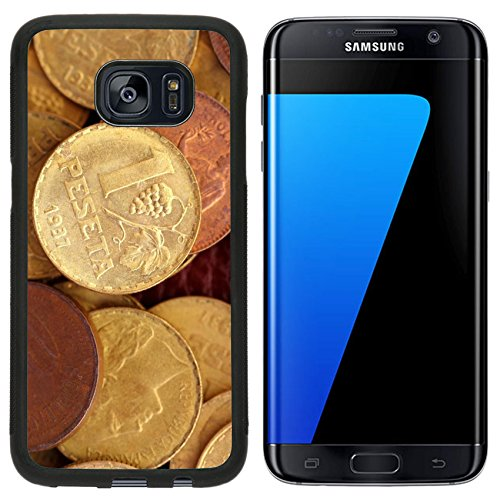 Liili Premium Samsung Galaxy S7 Edge Aluminum Snap Case antique real old spain republic 1937 currency peseta and 50 cents IMAGE ID 9942062