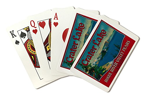Crater Lake Pear - Vintage Crate Label (Playing Card Deck - 52 Card Poker Size with Jokers)