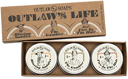 """The Outlaw's Life"" Western Cologne Gift Set - The Scent of the Wild West in 3 Perfectly Pocket-sized Solid Cologne Tins - 1 oz Each - Handmade in the USA"