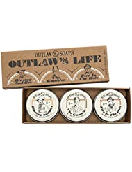 The Outlaw's Life Solid Cologne Gift Set: Colognes for a Western Legend - Men's or Women's - three 1 oz twist-top travel tins