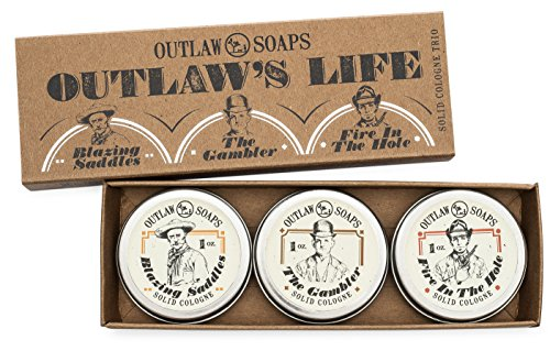 """The Outlaw's Life"" Western Cologne Gift Set - The scent of the Wild West in three perfectly pocket-sized solid cologne tins - 1 oz each - Handmade in the USA"