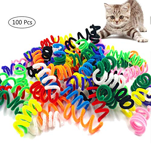 Worbee DIY Cat Springs Toys, 100 PCS Cat Spring Toy Colorful Coil Spring Action Cat Toy High Elasticity, Stretchable Jumping Cat Toy