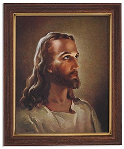 Gerffert Collection Sallman Head of Christ Catholic Framed Portrait Print, 13 Inch (Wood Tone Finish Frame)