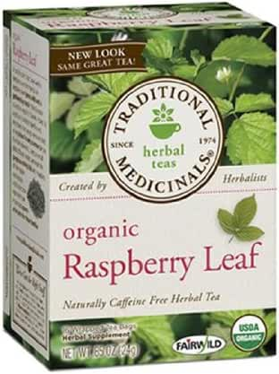 Traditional Medicinals Organic Herbal Teas, Raspberry Leaf, 16 Wrapped Tea Bags, 0.85 oz