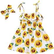 lheaio Little Girl Summer Dress Sunflower Sleeveless Strap Skirt Dresses with Headband Casual Clothes