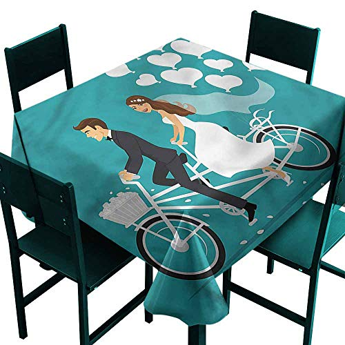 (DONEECKL Square Tablecloth Wedding Tandem Bicycle Balloons Easy to Clean W36 xL36)
