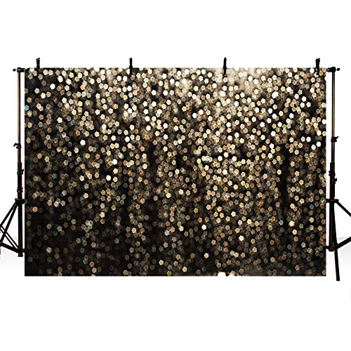 MEHOFOTO Gold and Black Bokeh Spots Prom Backdrop for Birthday Party Pictures Photo Booth Shoot Dance Wedding Vintage Abstract Glitter Dot Studio Props Photography Background Banner 7x5ft]()