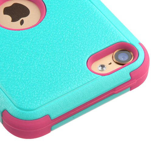 Apple iPod Touch 5 5th Gen / 6 6th Gen Case, Kaleidio [Natural TUFF] Rugged Dual Layer Hybrid Cover [Includes a Overbrawn Prying Tool & Stylux Stylus] [Turquoise/Pink] (Ipod 5 Cases Made By Mybat)