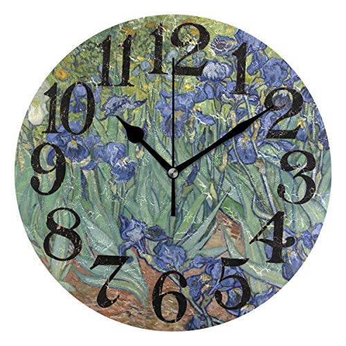 Naanle Iris by Vincent Van Gogh Floral Pattern Garden Flower Field Print Round/Square/Diamond Acrylic Wall Clock Oil Painting Home Office School Decorative Creative Dual Use Clock - Garden Floral Clock Decorative