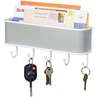 mDesign Mail Holder and Key Rack - Wall Mounted Mail Organiser for Letters, Keys and More - Mail File - White