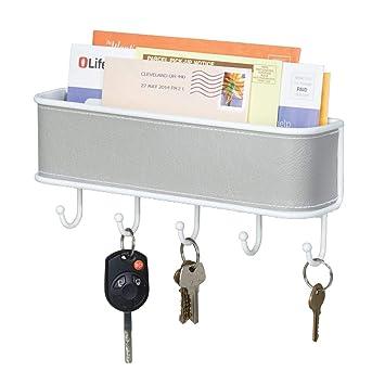 mDesign Organizador de correo y llaves - Estante para cartas y papeles, con colgador de 5 llaves - En gris y blanco, para montar en la entrada de la ...