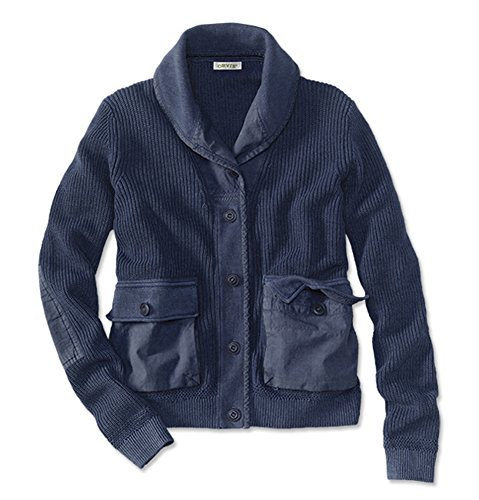 Orvis Women's Shawl-Collar Shaker-Stitch Cardigan, Indigo, Medium