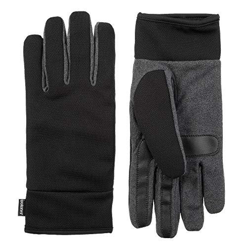 isotoner Microfiber Men's Gloves, Touchscreen, Water-Repellent, Dark Charcoal Heather, LG ()