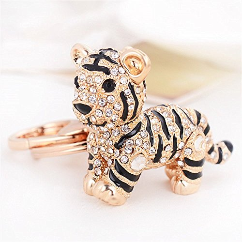 Car Keychain!Full Rhinestone Exquisite Animal Little Tiger Keychain Charm Bag Key Chain Holder Women Handbag Jewelry (Tiger B) ()