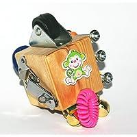 Busy Fidget Cube de viaje - Juguete de actividades educativas para niños pequeños - Montessori Juego sensorial para niños y niñas - Juguete de madera para niños - Juego de candados y cierres - Tablero de desarrollo de habilidades motrices finas para niños - Cubo ocupado