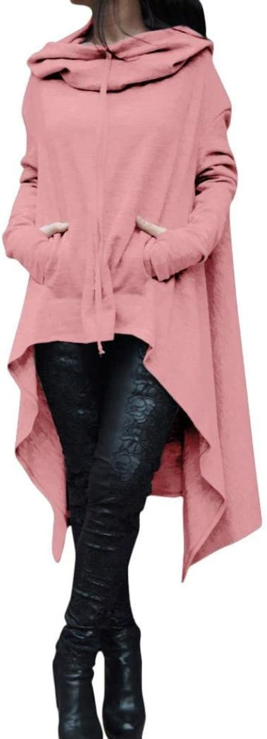 Vanvler Women Long Loose Tops Ladies Blouse Plus Size Asymmetric Hoodie Sweatshirt Pink, 4XL