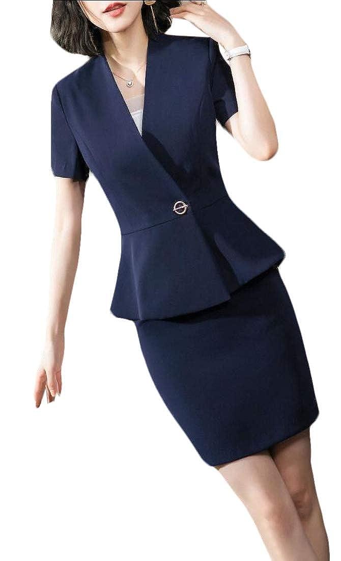 3 maweisong Women 2 Piece Business Dress Skirt Suit Set Office Lady Blazer and Skirt