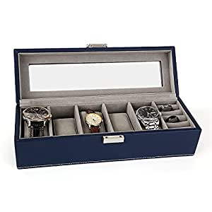 Amazon.com: Watches Box Amzdeal 6 Grid Watch Box Organizer
