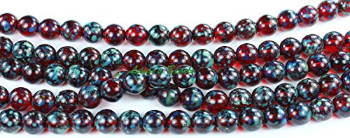 Glass Earrings Ruby (25 Ruby-Picasso Czech Pressed Glass Druk Round Beads 8mm)