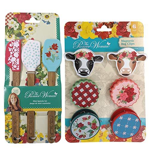 Pioneer Woman Mini Spatula Set and Magnetic Bag Clip Set - 9 Piece Bundle