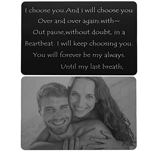 Custom Note Cards Wallet Love Note Wife and Husband Anniversary Gift Ideas - I Will Keep Choosing You Until My Last Breath. (Engraving) (1 Year Anniversary Letter To My Boyfriend)