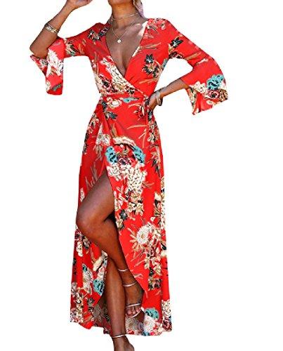 Coolred-femmes Coton Fleuri Boho Confort Décontracté Longue Rouge Robe Crayon
