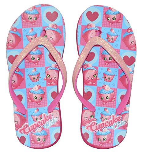 Shopkins Little Girl's Wedge Flip Flop Sandals (Large / 2-3 M US Little Kid, Cupcake