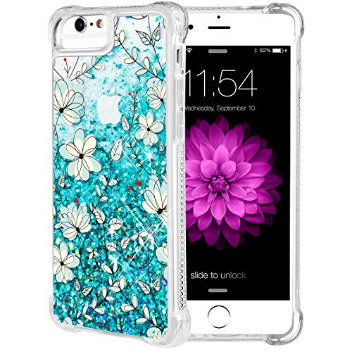 iPhone 6S Plus Case, Caka Flowing Floral Liquid Floating Luxury Bling Glitter Sparkle Soft TPU Case for iPhone 6 Plus 6S Plus 7 Plus 8 Plus (5.5 inch) (Teal Vine) (Glitter Teal Gold And)