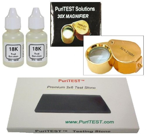 Cash for Gold Personal Appraisal Kit + Free Gift by PuriTEST! 18-karat Purity Testing Acid Solution is How to Test Your Own Scrap Jewelry, Plated Coins, Solid Antiques 18k