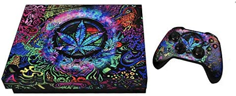 eXtremeRate Psychedelic Cannabis Full Set Faceplates Skin Stickers for Xbox One X Console Controller with 2 Pcs Home Button Decals