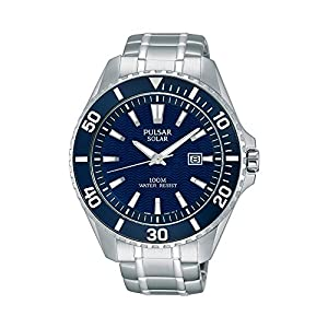 51MkK2ZoO7L. SS300  - Pulsar Men's Solar Sport Silvertone Blue Dial Watch