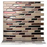 Tic Tac Tiles 10-Sheet Peel and Stick Self Adhesive Removable Stick On Kitchen Backsplash Bathroom 3D Wall Sticker Wallpaper Tiles in Como Mare