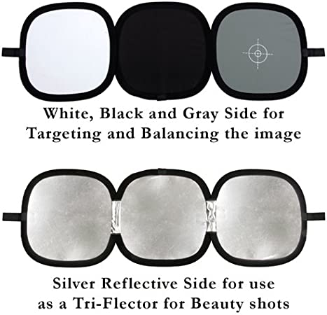 Photography Reflector Multifunction Reference Foldable Gray Reflector Card Focus Board for DSLR White Balance Exposure with Carrying Bag Lighting Reflectors Color : As Shown, Size : Free