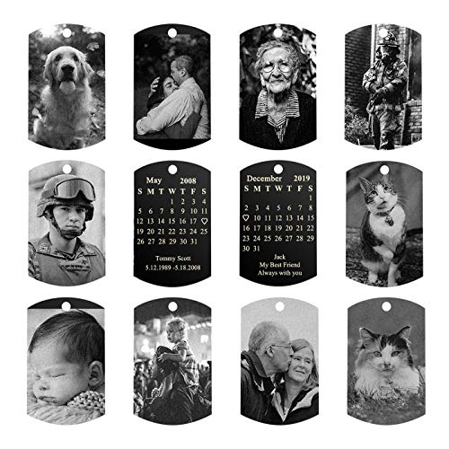 PiercingJ Personalized Custom Photo Picture Calendar Text Engraved Stainless Steel Military Dog Tags ID Pendant Urn Memorial Container Necklace Ash Keepsake Cremation Jewelry Special Day Gift