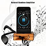 ARCHEER Cell Phone Stand, iPhone Stand Holder Bamboo Wood Phone Dock with Sound Amplifier, Natural Bamboo Stands for iPhone 7, iPhone 6s, iPhone 6 Plus and Android Smartphones Within 5.5 Inches