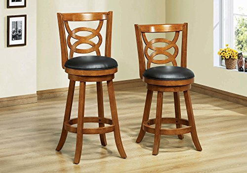 Monarch Specialties I I 1252 Solid Wood High Swivel Counter Stool, Oak, 39