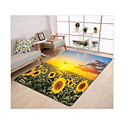 Kisscase Custom carpet Sunflower Housewarming Gifts Nature Art Sunflower Garden Sunflowers Landscape Theme Decor for Room Home Decorations Fabric Room Orange Blue Green Yellow