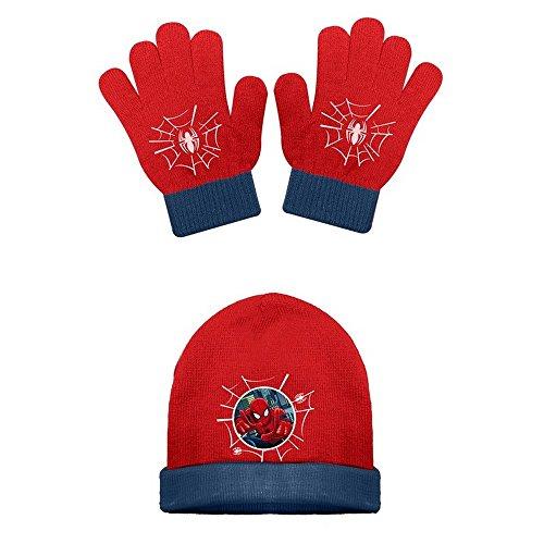 1 Bonnet + 1 paire de gants SPIDERMAN - rouge avec bord bleu